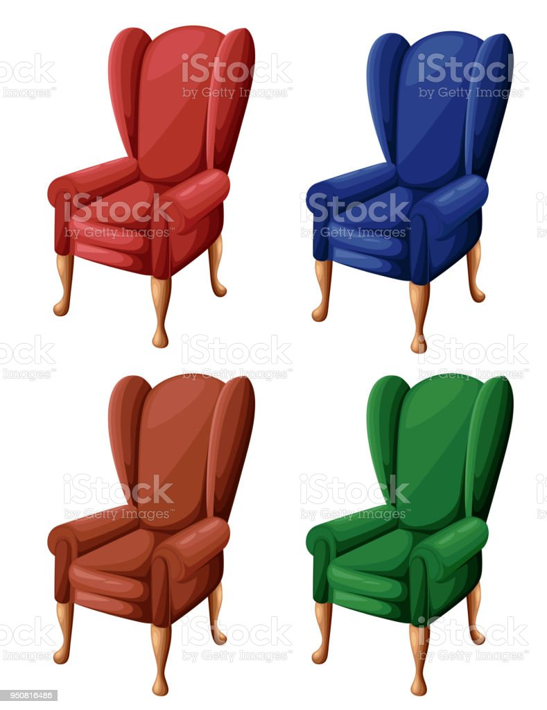 Rot Blau Braun Und Grün Vintage Sessel In Flachen Stil Stuhlikone ...