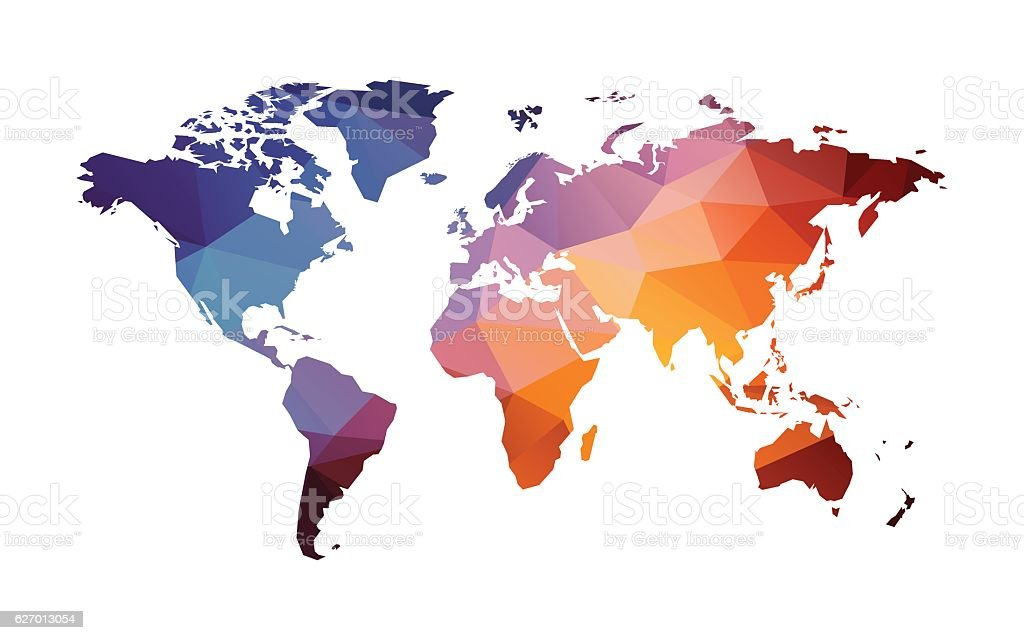 red blue geometric world map vector art illustration