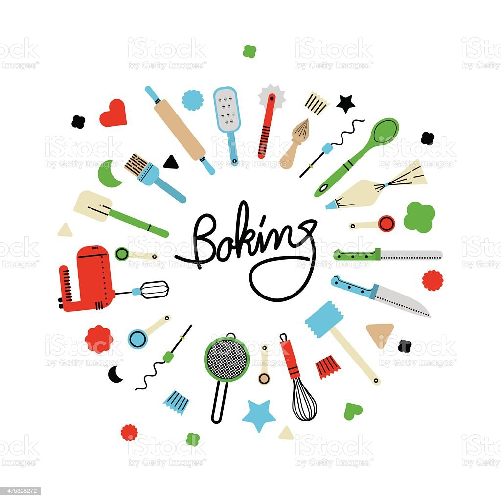 Red, blue, green baking utensils with blank space vector art illustration