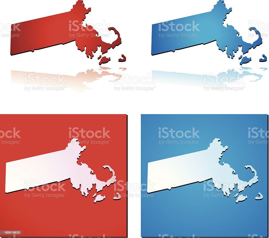 Red Blue Massachusetts royalty-free stock vector art