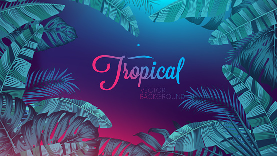 Red blue neon light, trendy background with tropical vector plant and leaf