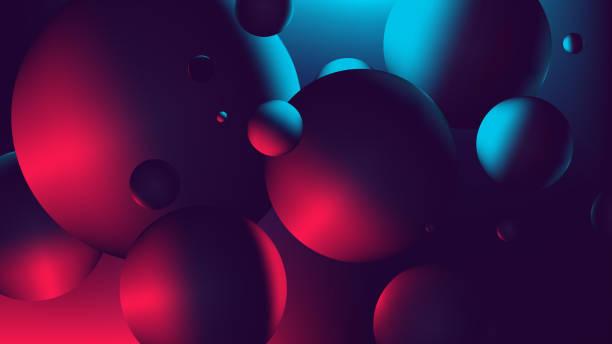 roter neon-blaulicht mit einer reflexion auf kugel, gradient vektor-illustration - farbwahrnehmung stock-grafiken, -clipart, -cartoons und -symbole