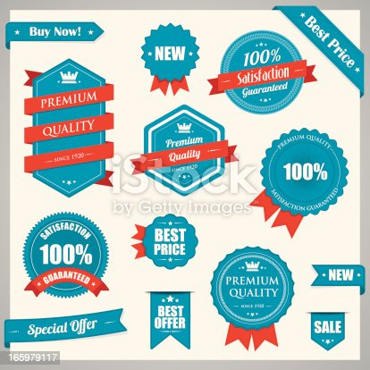istock Red blue vintage badges 165979117