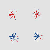 red blue white splash style label collection for design