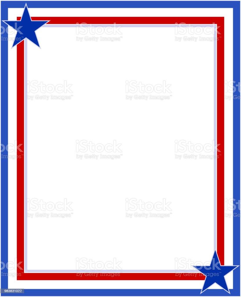 Rot Blau Mit Sternen Abstrakte Amerikanische Flagge Rahmen Stock ...