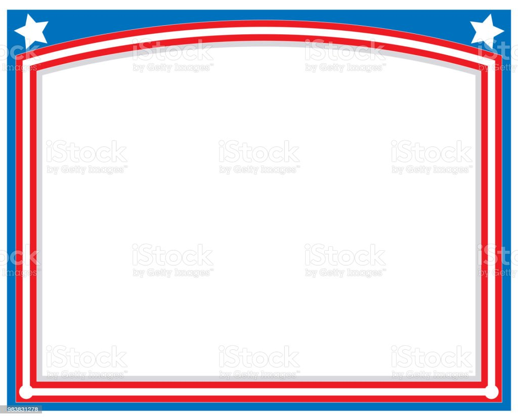 red blue with stars abstract american flag border frame stock vector