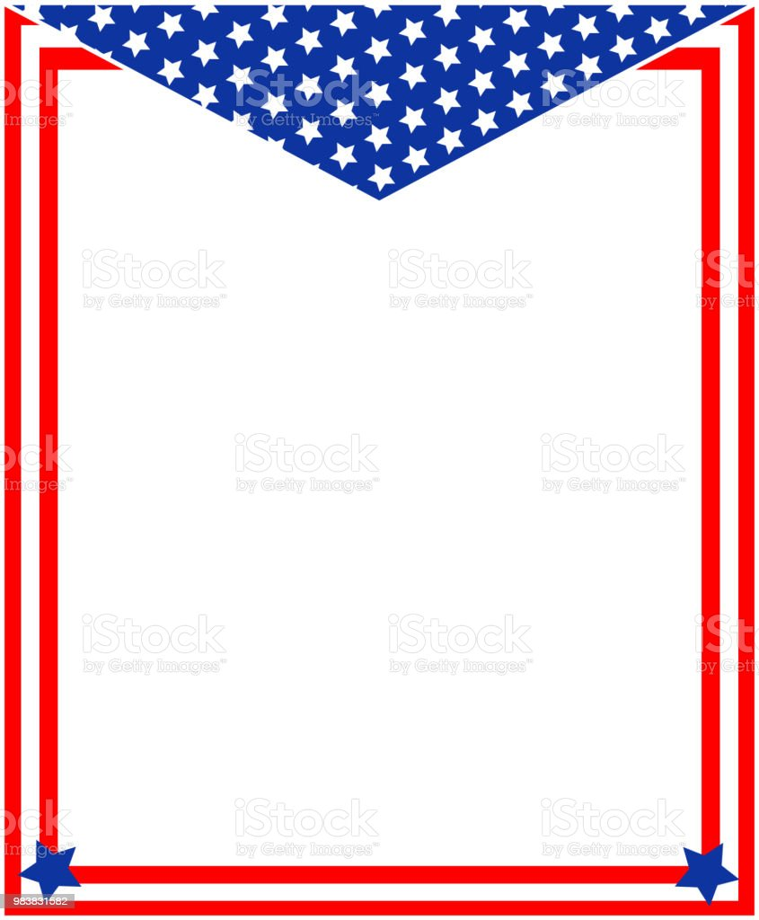 Red Blue With Stars Abstract American Flag Border Frame Stock Vector ...