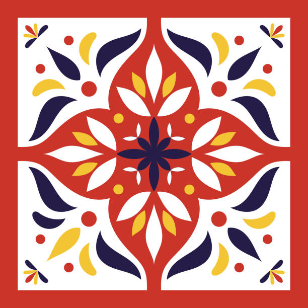 ilustrações de stock, clip art, desenhos animados e ícones de red, blue, yellow and white tile vector - mosaicos flores