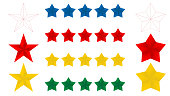5 Red blue yellow gold and thin line stars. EPS 10 vector illustration