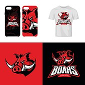 Red boar head sport club isolated vector icon concept.