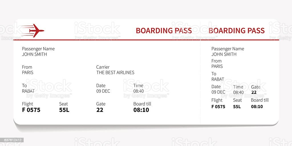 Red boarding pass - Illustration vectorielle