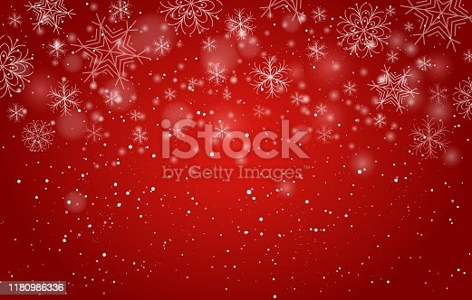 istock Red bokeh snowflakes background 1180986336