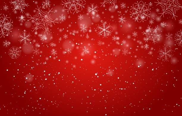 Red bokeh snowflakes background Red bokeh snowflakes background. Xmas beautiful decor image, vector christmas lights and snow flakes frosty sky wrap pattern christmas background stock illustrations