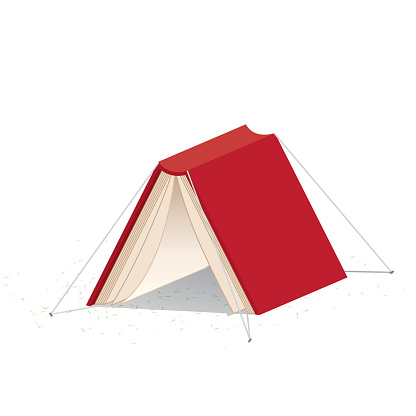 Red book cover looks like a tent on white background.