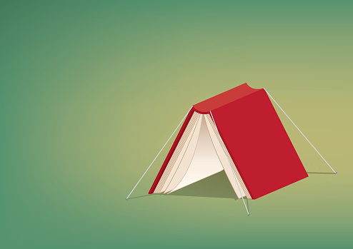 Red book cover tent refer reading is relax and rest.