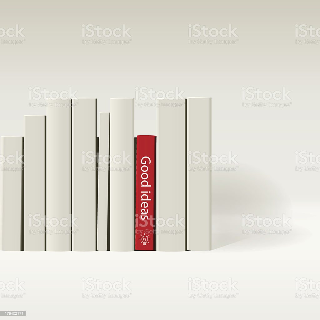Red book in row of white books. vector art illustration