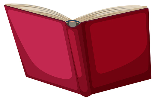 Red book object on white background illustration