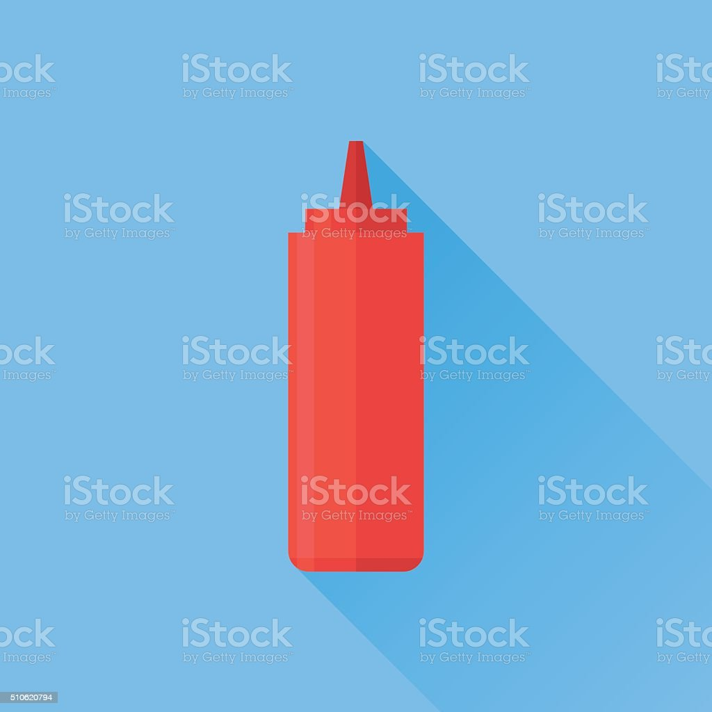 Red bottle with tomato ketchup flat icon vector art illustration