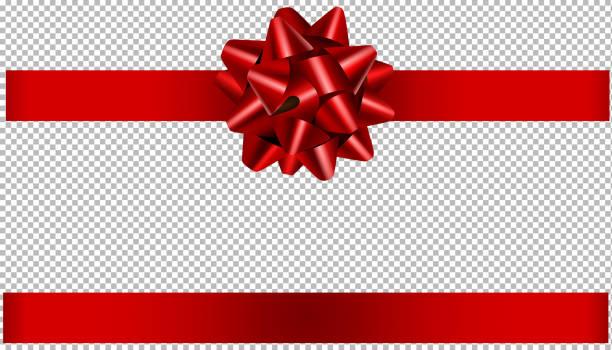 czerwona kokarda i wstążka ilustracja na boże narodzenie i dekoracje urodzinowe - gift stock illustrations