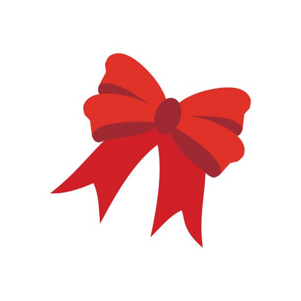 Red bow illustration vector art illustration