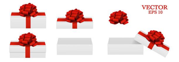 stockillustraties, clipart, cartoons en iconen met rode strik. open en gesloten geschenken. - verjaardagskado