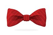 Red bow tie with print in diagonal stripes