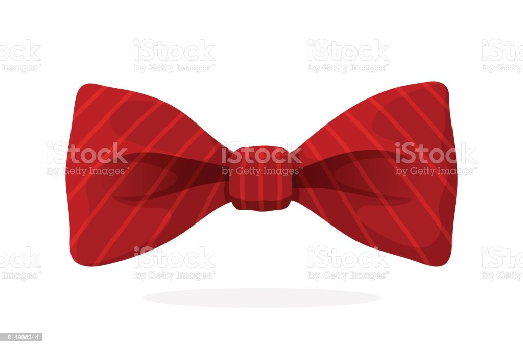 Red bow tie with print in diagonal stripes vector art illustration