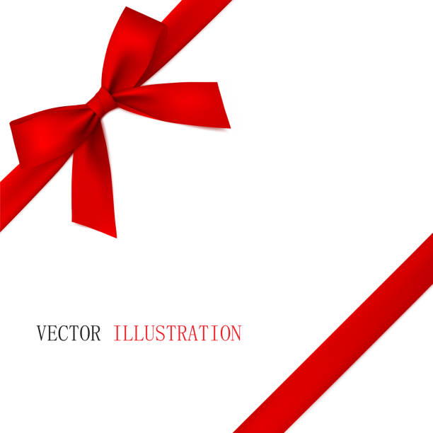 red bow with diagonally ribbon on the corner. - tied bow stock illustrations