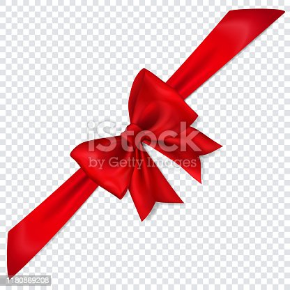 istock Red bow with diagonally ribbon 1180869208