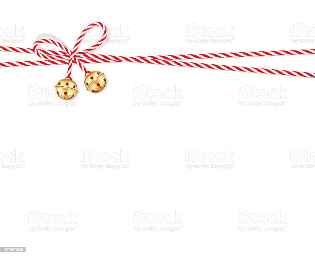 Red bow with jingle bells, Present bow from red-white cord string vector art illustration