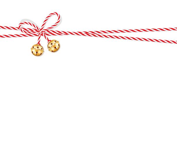 ilustrações, clipart, desenhos animados e ícones de laço vermelho com guizos, apresento o arco da corda de fio vermelho-branco - advento