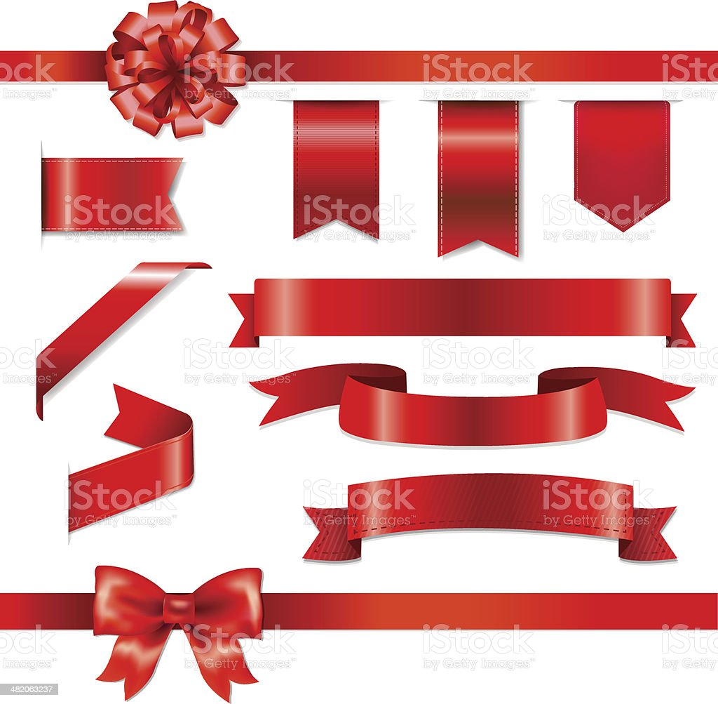 Red Bow With Ribbons Set vector art illustration