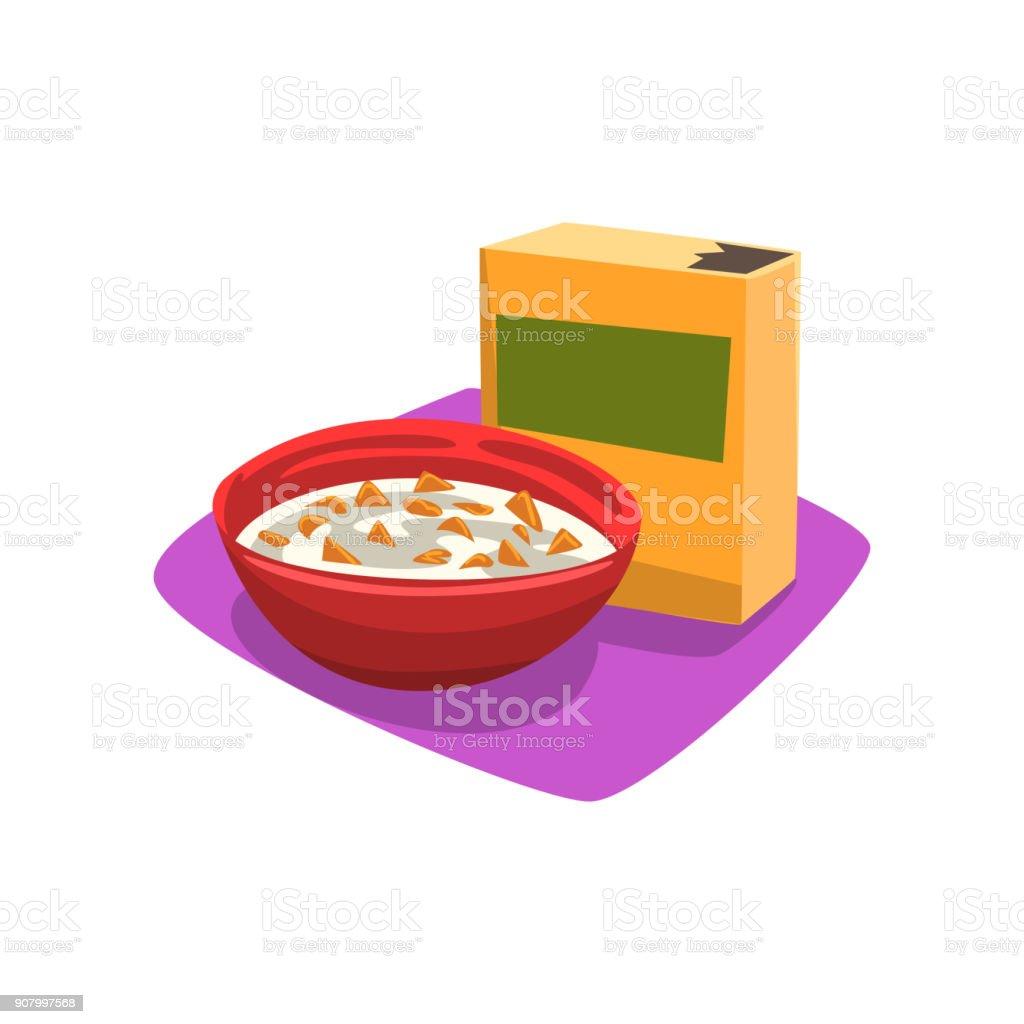 Rote Schale Voll Cornflakes Mit Milch Frühstückkonzept