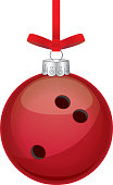 Vector illustration of a red shiny bowling ball christmas ornament.