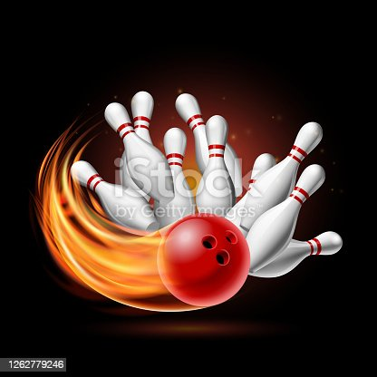 Red Bowling Ball in Flames crashing into the pins on a Dark Background. Illustration of bowling strike. Vector Template for poster of Sport competition or Tournament.
