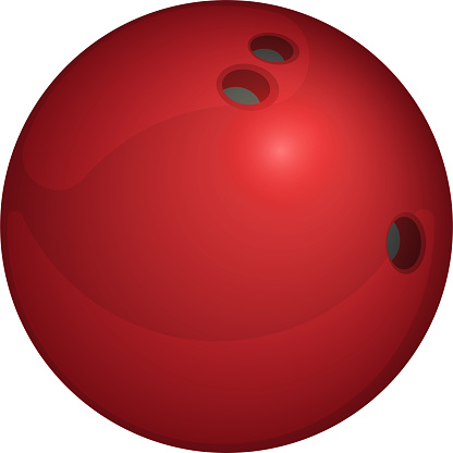 Red Bowling Ball isolated on transparent background. Vector illustration