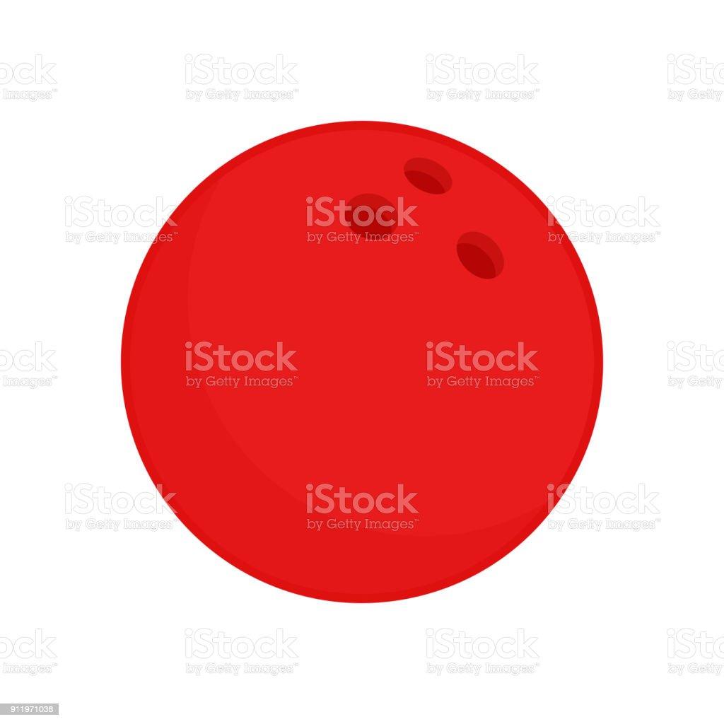 Roten Bowling-Kugel. Vektor Icon isoliert auf weißem Hintergrund. Vektor-Illustration. – Vektorgrafik