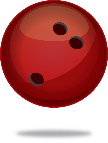 Red Bowling Ball With Shadow Icon