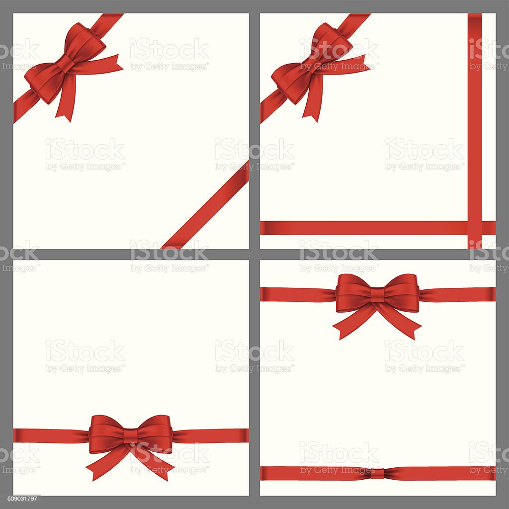 red bows and ribbons vector art illustration