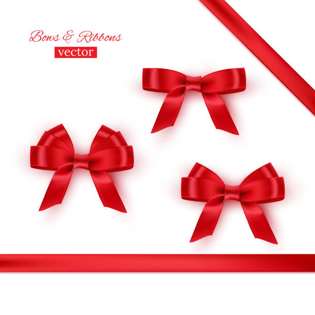 red bows and ribbons. vector realistic design elements set. - ribbon sewing item stock illustrations
