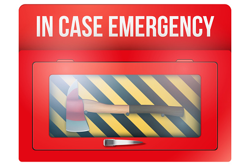 Red box with axe in case of emergency