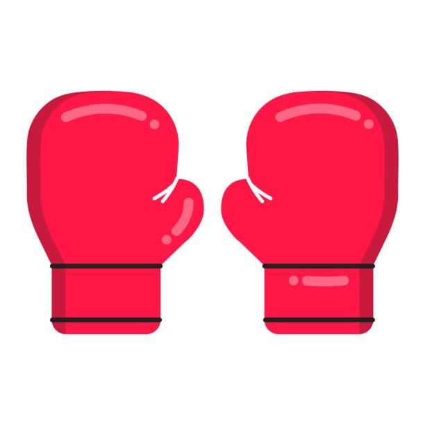 stockillustraties, clipart, cartoons en iconen met rode bokshandschoenen vlakke stijl ontwerp vector illustratie pictogram teken geïsoleerd op een witte achtergrond. symbolen van het boksen sport spel en embleem concept. - bokshandschoen