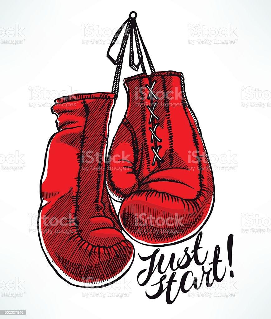 red boxing gloves vector art illustration