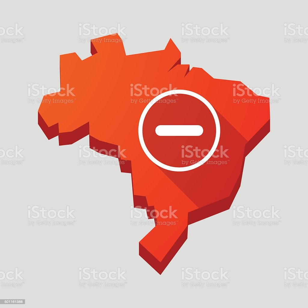 Red Brazil map with a subtraction sign vector art illustration