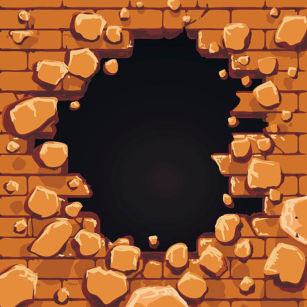 Red brick wall hole vector art illustration