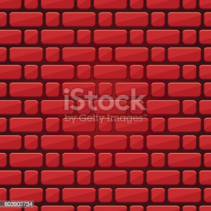 Red Brick Wall Seamless Background Of Bricks Texture Stock Vector Art More Images Architecture 603902734