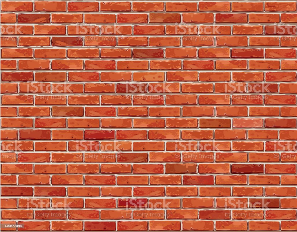 Red brick wall seamless background. vector art illustration