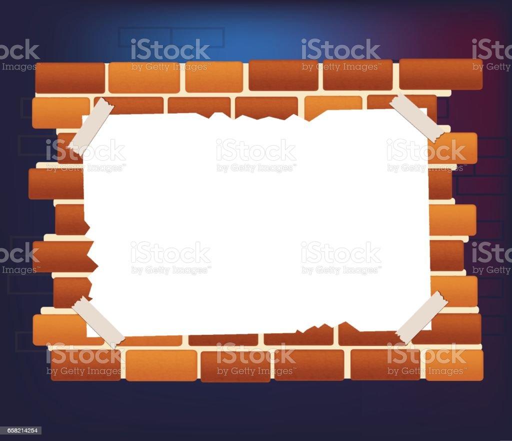 Red brick wall with empty white paper banner - ilustração de arte vetorial