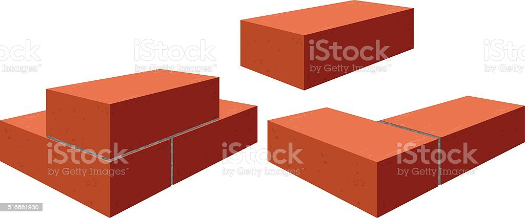 Red bricks. Brickwork vector art illustration