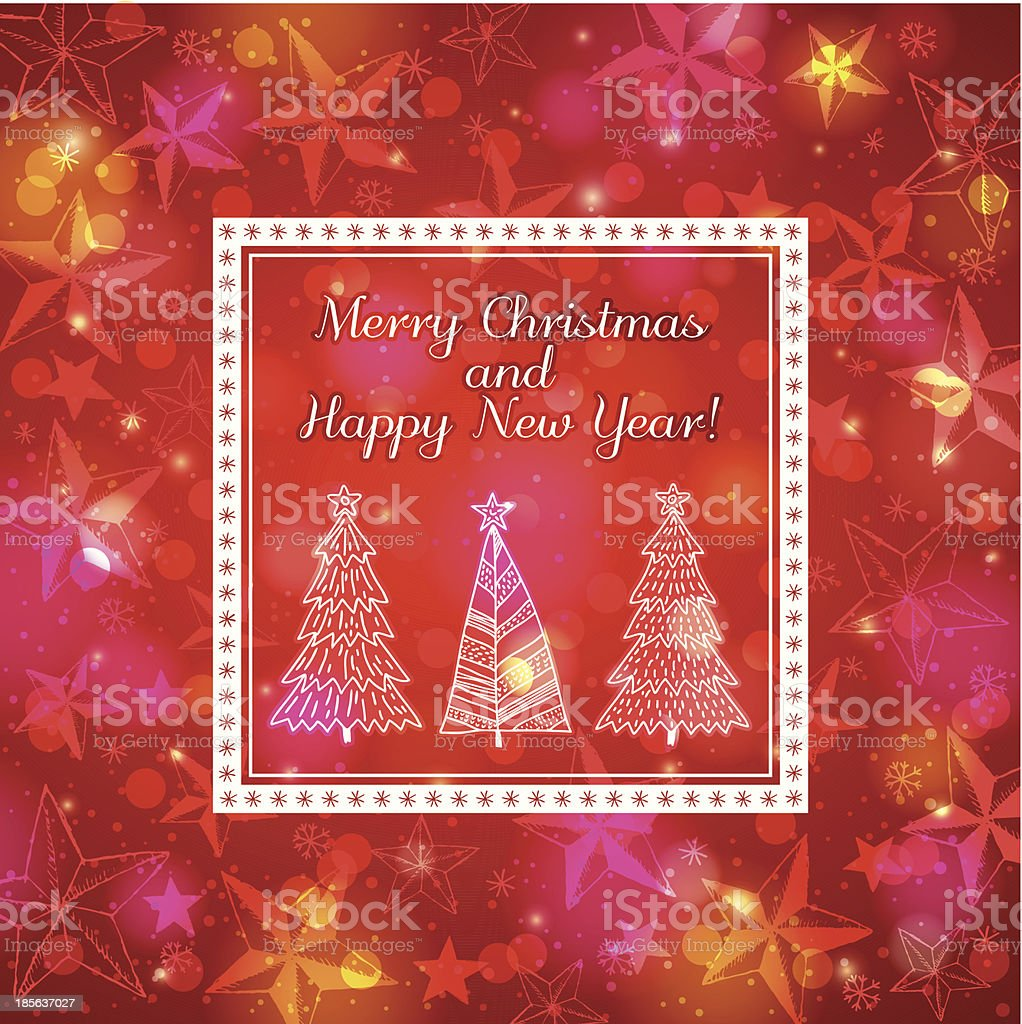 red brightness background with forest of christmas trees royalty-free stock vector art